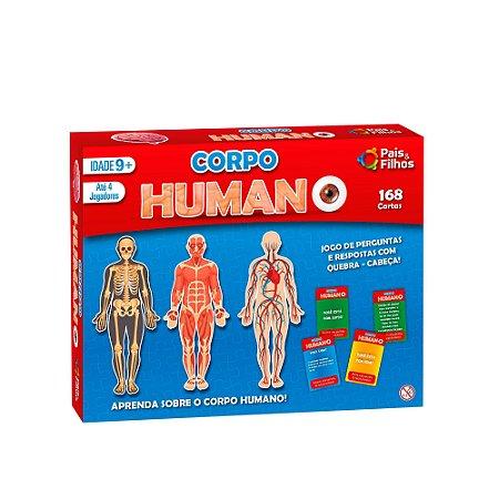 Jogo de Perguntas e Respostas c/ Quebra Cabeça Corpo Humano 2808 Pais e Filhos 168 Peças
