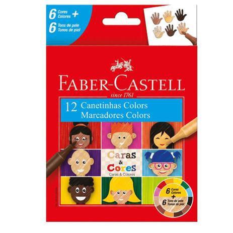 Caneta Hidrocor Caras & Cores Faber Castell 12 cores