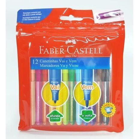 Caneta Hidrocor Faber Castell  Vai e Vem 12 cores