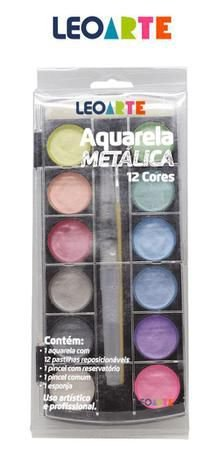 Aquarela Metálica Leo & Leo 12 Cores