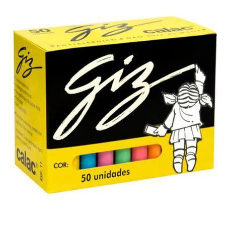 Giz Escolar Colorido Calac 50 unidades