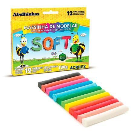 Massinha de Modelar Soft 07312 Acrilex 12 cores