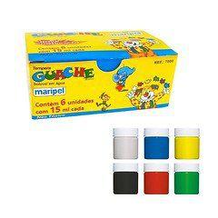 Tinta Guache 15ml com 6 cores Maripel