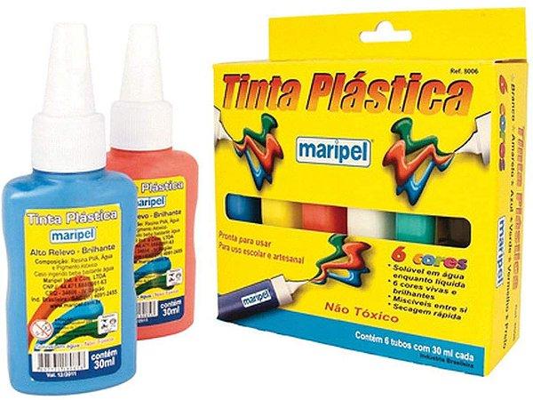 Tinta Plástica 30ml com 6 Cores Maripel