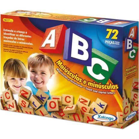 Jogo Pedagógico Madeira ABC Maiúsculas e Minúsculas 72 peças 52665 Xalingo