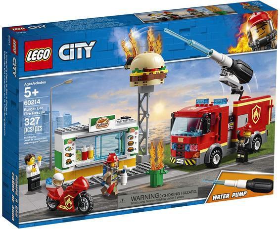 Lego City Burger Bar Fire Rescue Combate ao Fogo 327 peças 60214 Lego