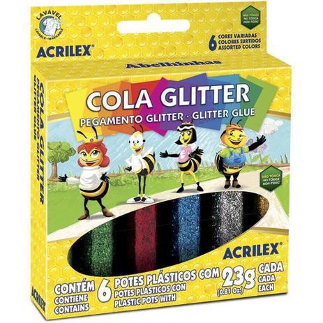Cola Glitter com 6 cores 23gr Acrilex