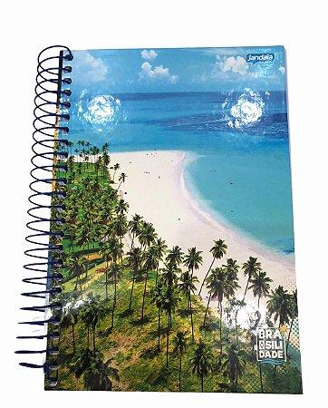 Caderno Espiral 1/4 Capa Dura 200 folhas Brasilidade - Jandaia
