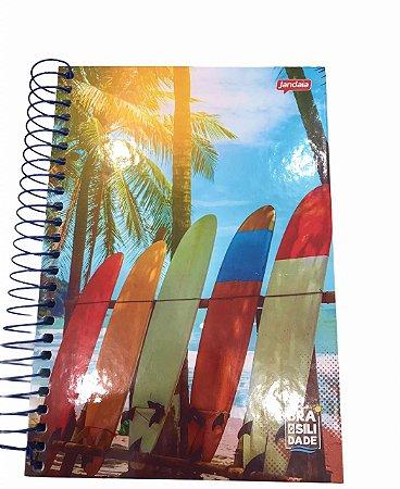 Caderno Espiral 1/4 Capa Dura 200 folhas Brasilidade Jandaia