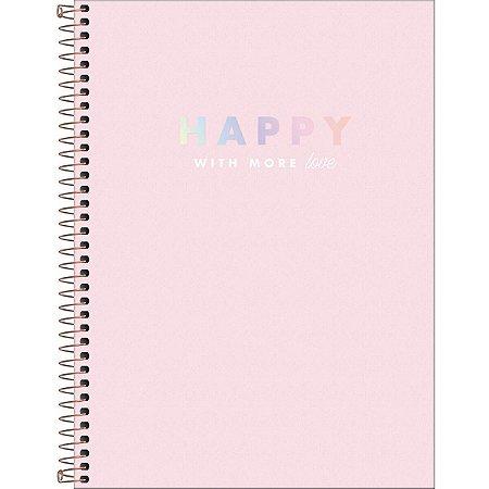 Caderno Universitário 80 folhas Capa Dura Happy Rosa - Tilibra