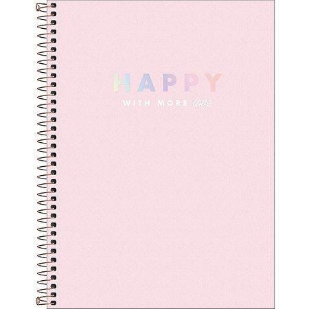 Caderno Universitário 160 folhas Capa Dura Happy Rosa - Tilibra