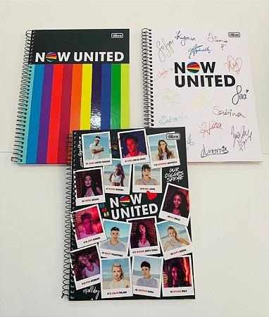 Kit com 3 Cadernos Universitários 80 folhas Capa Dura Now United Tilibra