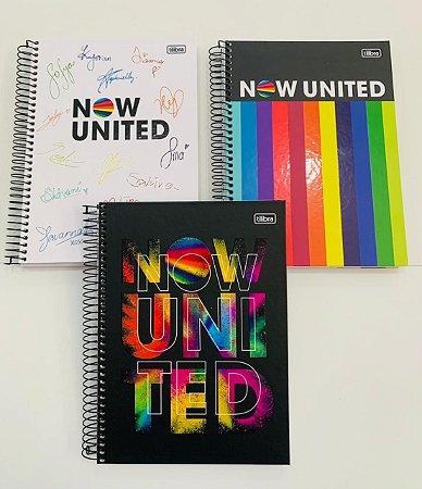 Kit com 3 Cadernos Universitários 160 folhas Capa Dura Now United - Tilibra