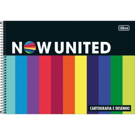 Caderno de Desenho Cartografia 80 folhas Now United Tilibra