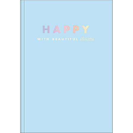 Caderno Brochura 1/4 Capa Dura 80 folhas Happy Azul - Tilibra