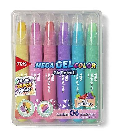 Giz Retrátil Mega Gel Color Pastel  6 cores com Cheirinho Tris