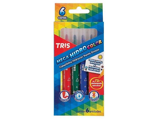 Caneta Hidrocor Mega Hidro Color 6 cores Jumbo Tris