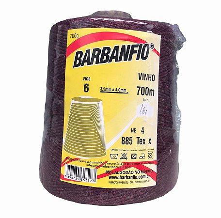Barbante Barbanfio 6 fios Vinho 700 Gramas 700 Metros