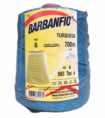Barbante Barbanfio 6 fios Azul Turqueza 700 Gramas 700 Metros