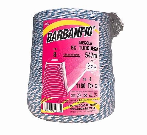 Barbante Barbanfio 8 fios Mesclado Azul e Branco 700 Gramas 547 Metros