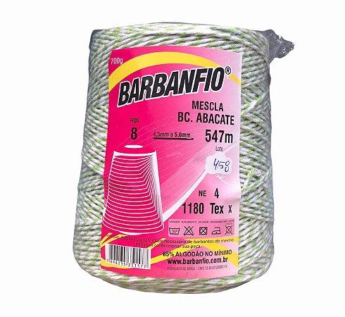 Barbante Barbanfio 8 fios Mesclado Verde Abacate e Branco 700 Gramas 547 Metros