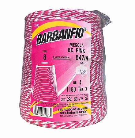 Barbante Barbanfio 8 fios Mesclado Pink e Branco 700 Gramas 547 Metros