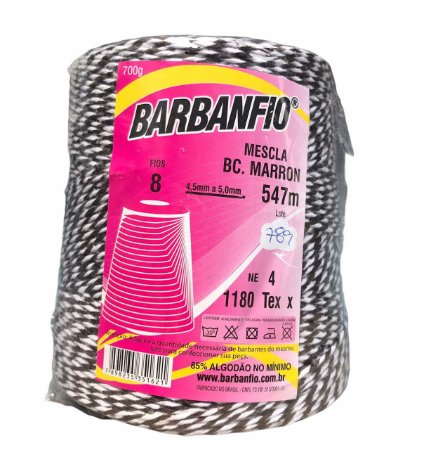 Barbante Barbanfio 8 fios Mesclado Marrom e Branco 700 Gramas 547 Metros