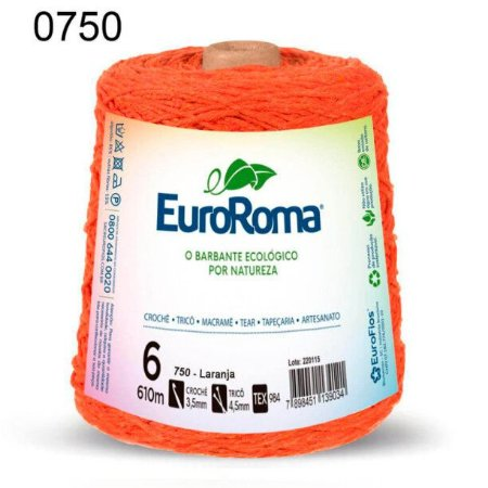 Barbante EuroRoma 6 fios Cor 750 Laranja 610 metros
