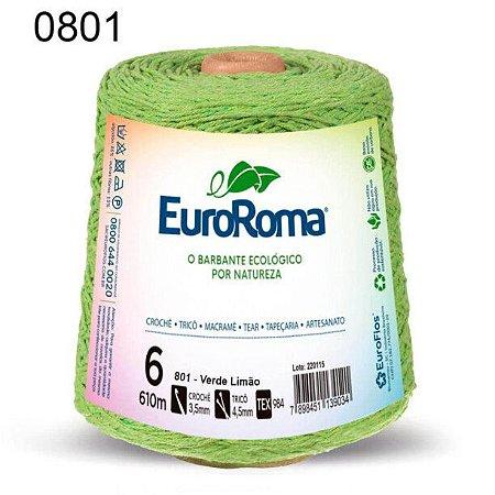 Barbante EuroRoma 6 fios Cor 801 Verde Limão 610 metros