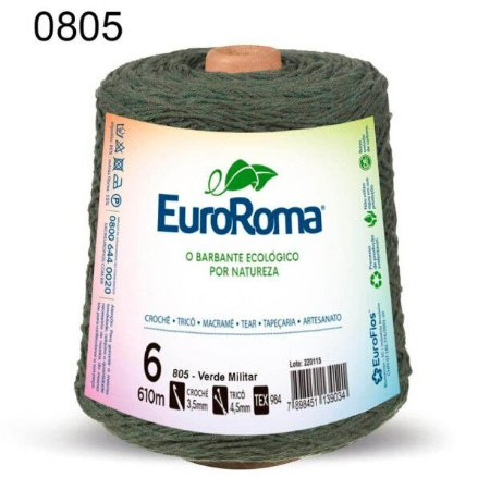 Barbante EuroRoma 6 fios Cor 805 Verde Militar 610 metros