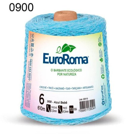 Barbante EuroRoma 6 fios Cor 900 Azul Bebê 610 metros
