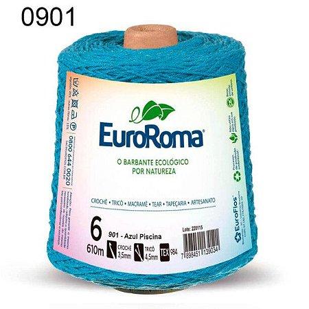 Barbante EuroRoma 6 fios Cor 901 Azul Piscina 610 metros