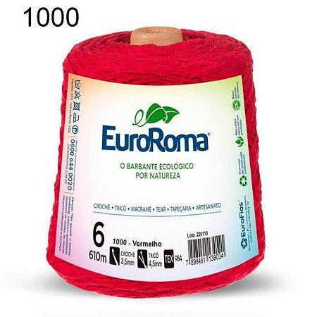 Barbante EuroRoma 6 fios Cor 1000 Vermelho 610 metros