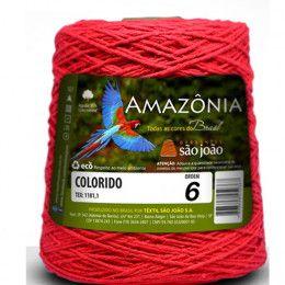 Barbante Amazônia 6 fios Cor 13 Vermelho 600 Gramas 614 Metros