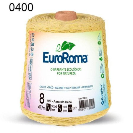 Barbante EuroRoma 8 fios Cor 400 Amarelo Bebê 457 metros