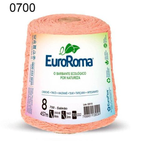 Barbante EuroRoma 8 fios Cor 700 Salmão 457 metros