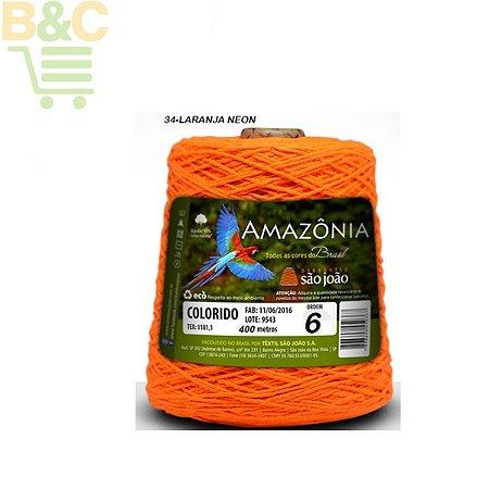 Barbante Amazônia 6 fios Cor 34 Laranja Neon 600 Gramas 614 Metros - São João