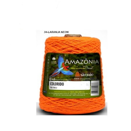 Barbante Amazônia 4 fios cor 34 Laranja Neon 600 Gramas 921 Metros - São João
