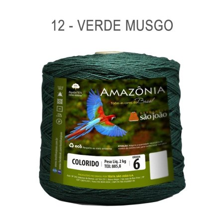 Barbante Amazônia 6 fios Cor 12 Verde Musgo 2 kg - São João