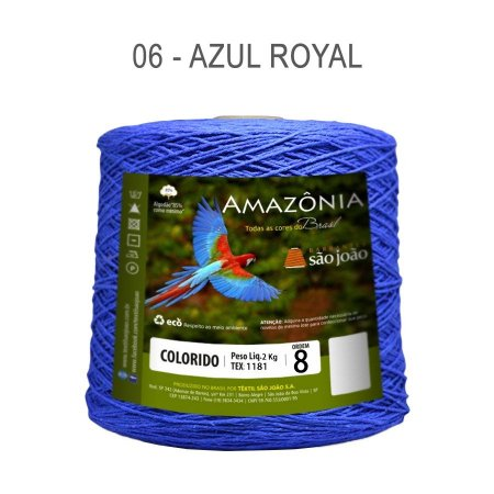 Barbante Amazônia 8 fios Cor 6 Azul Royal 2 kg