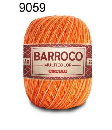 Barbante Barroco Multicolor 6 fios Cor 9059 Abobora 226 Metros 200 Gramas