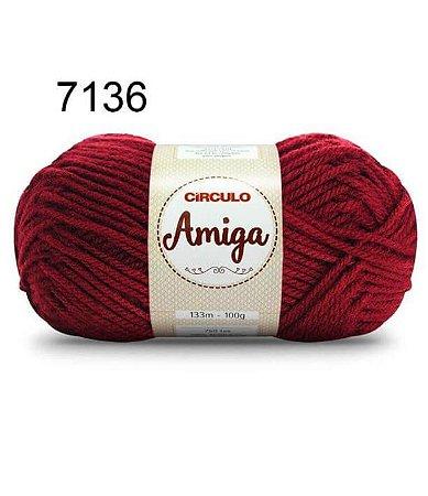 Lã Amiga Cor 7136 Marsala 100 Gramas