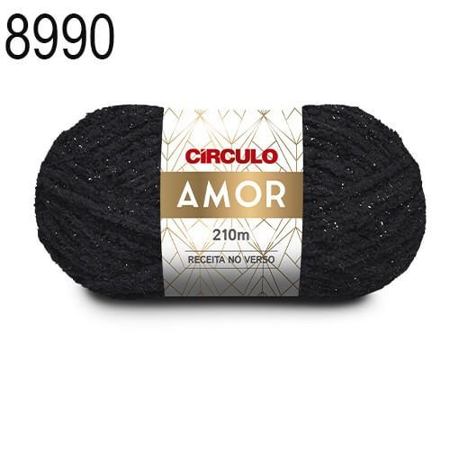 Lã Amor Cor 8990 Preto 100 Gramas 210 Metros