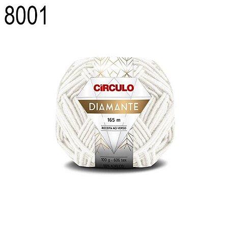 Lã Diamante Cor 8001 Branca 100 Gramas 165 Metros