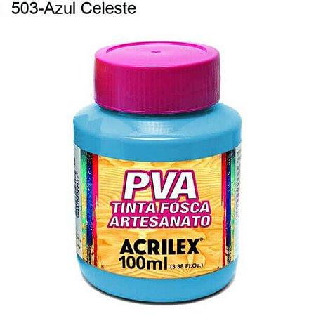 Tinta PVA Fosca para Artesanato Cor 503 Azul Celeste 100ml Acrilex