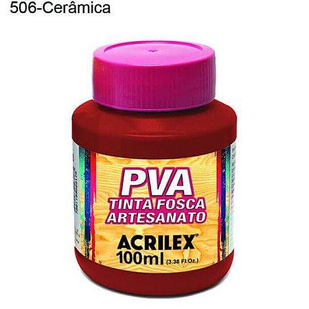 Tinta PVA Fosca para Artesanato Cor 506 Cerâmica 100ml Acrilex