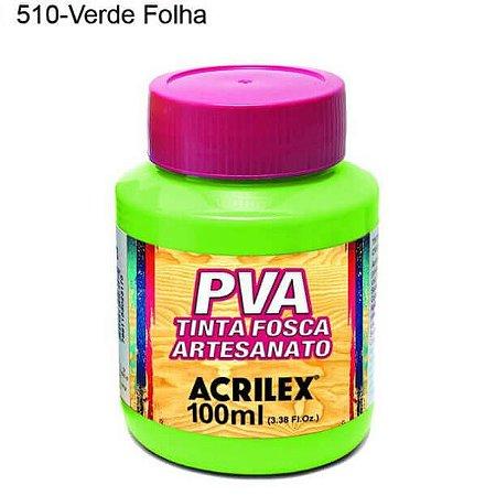 Tinta PVA Fosca para Artesanato Cor 510 Verde Folha 100ml Acrilex