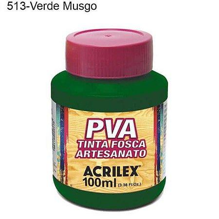 Tinta PVA Fosca para Artesanato Cor 513 Verde Musgo 100ml Acrilex