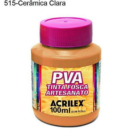 Tinta PVA Fosca para Artesanato Cor 515 Cerâmica Clara 100ml Acrilex