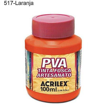 Tinta PVA Fosca para Artesanato Cor 517 Laranja 100ml Acrilex